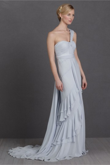BHLDN Pale Blue Textured Silk Chiffon Shell; Silk Charmeuse Lining Crashing Waves Gown Destination Wedding Dress Size 10 (M) Image 6
