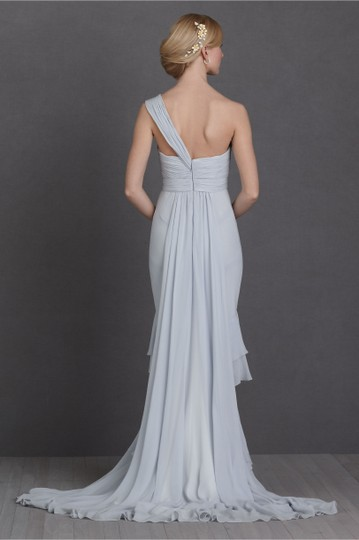 BHLDN Pale Blue Textured Silk Chiffon Shell; Silk Charmeuse Lining Crashing Waves Gown Destination Wedding Dress Size 10 (M) Image 8