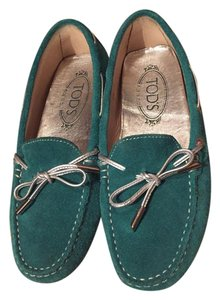 Tod's green and silver Flats