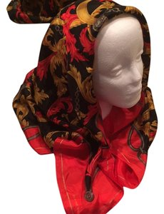 Silk Red Black Gold Rolled Edge Large Square Scarf