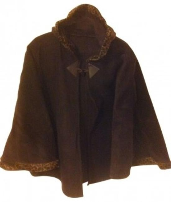 Preload https://img-static.tradesy.com/item/19830/dark-brown-with-tan-animal-print-trim-hood-decorative-button-close-ponchocape-size-os-one-size-0-0-650-650.jpg