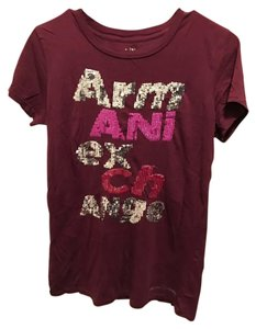 A|X Armani Exchange Sparkly Small T Shirt burgundy