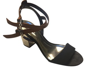 Coach Leather Black, Tan, Silver Sandals