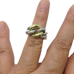 David Yurman size 5, sterling silver, Belmont Curb Link Ring with 18K Gold