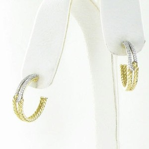 David Yurman David Yurman Labyrinth Hoop Earrings 18k Yellow Gold Diamond 0.43cts