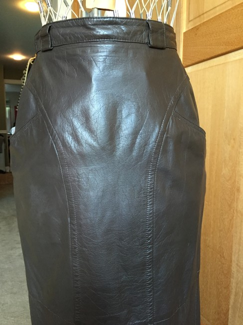 Pseudonyms Vintage Pencil Leather Skirt brown Image 2