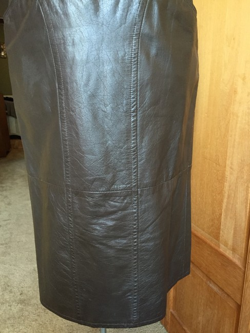 Pseudonyms Vintage Pencil Leather Skirt brown Image 3