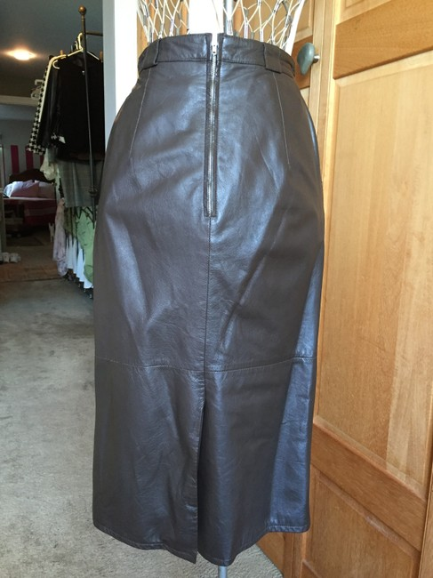 Pseudonyms Vintage Pencil Leather Skirt brown Image 4