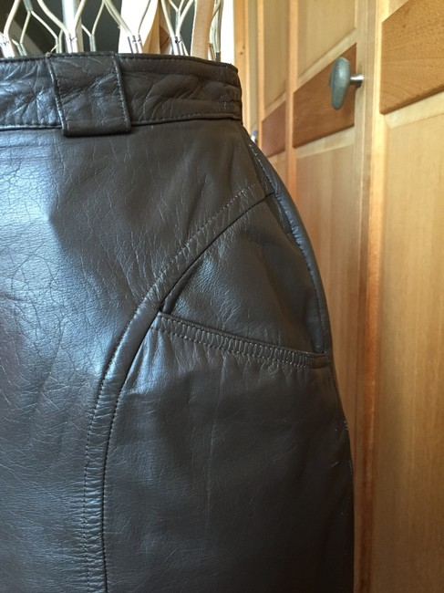Pseudonyms Vintage Pencil Leather Skirt brown Image 5