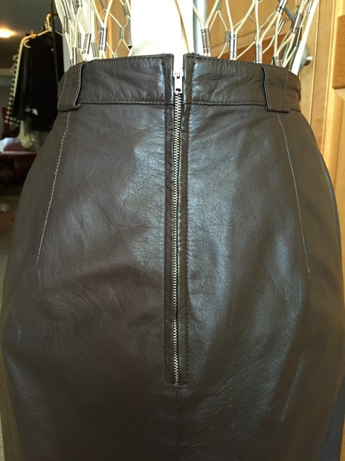 Pseudonyms Vintage Pencil Leather Skirt brown Image 6