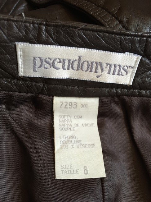 Pseudonyms Vintage Pencil Leather Skirt brown Image 8