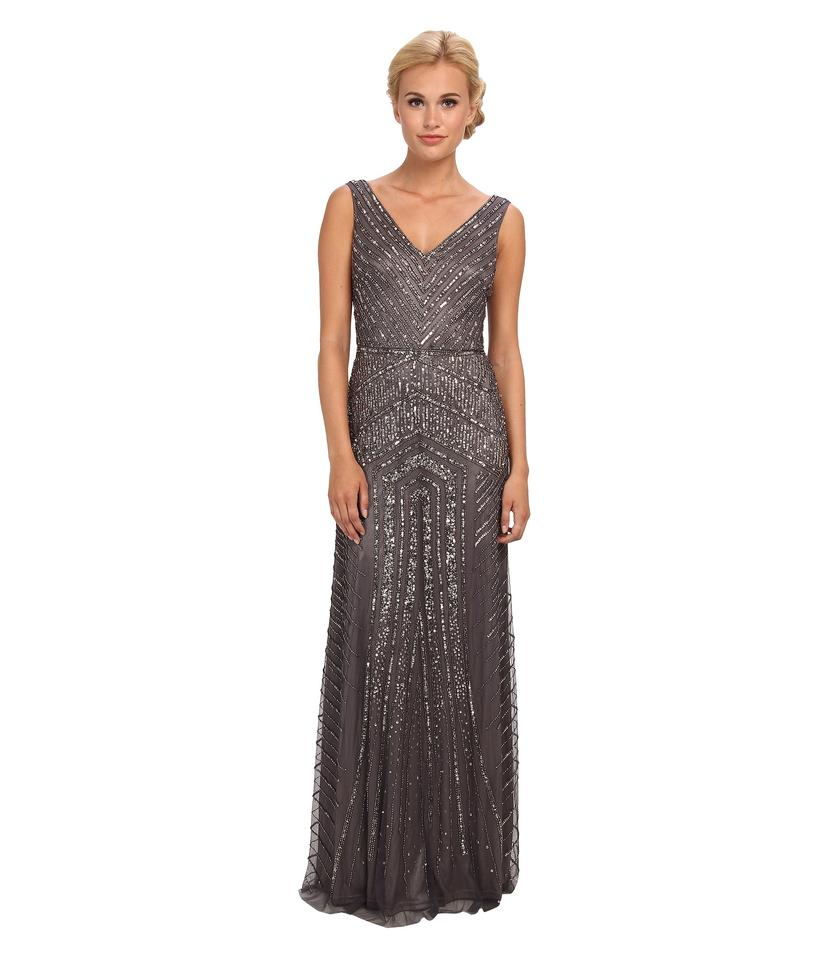 Adrianna Papell Silver Art Deco Sleeveless V-neck Beaded Gown Long ...