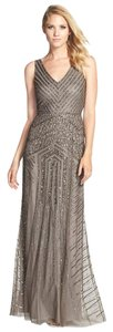 Adrianna Papell Art Deco A-line V-neck Beaded Gown Dress