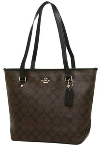 Coach Small Monogram Classic Tote in black