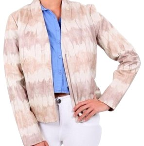 Badgley Mischka Beige anc light pink Leather Jacket