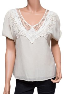 Leyendecker Lace Applique Lined Top Ivory