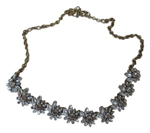 J.Crew J.Crew White Crystal Flower Statement Necklace