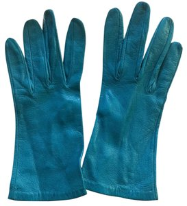 Turquoise blue leather gloves