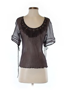 Rebecca Taylor Silk Sheer Embellished Top