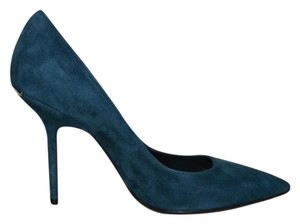 Burberry Suede Dark Teal Pumps