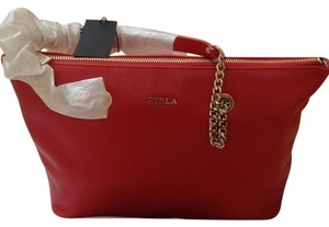 Furla Leather Julia Tote in Ruby