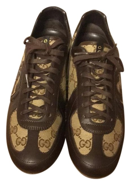 Item - Brown Canvas and Leather Logo Gg Sneakers Size US 9 Regular (M, B)