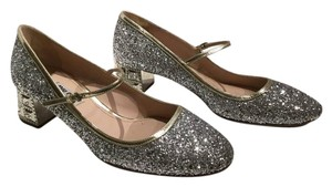 Miu Miu Glitter Jewel Heel Stunning Gold Trim Never Worn SILVER Pumps