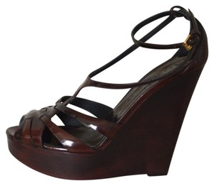 Burberry Leather Bordeaux Wedges