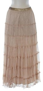 Twelfth St. by Cynthia Vincent Embellished Ruffle Maxi Skirt Beige