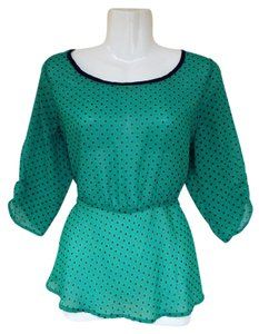 Love on a Hanger Sheer Peplum Sheer Zipper Scoop Top green, navy, yellow