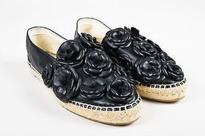 Chanel Black Leather Camellia Floral Slide On Espadrilles Black, Beige Flats