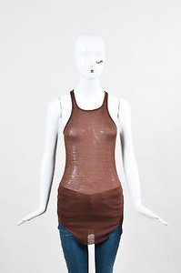 Ralph Lauren Rick Owens Ribbed Scoop Top Brown