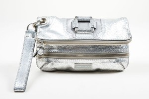 Jimmy Choo Crackled Leather Silver Clutch