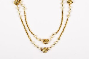 Chanel Vintage Chanel 1984 Gold Tone Rope Bead Faux Pearl Station Long Necklace