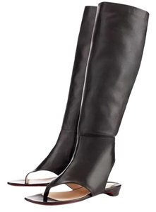 Christian Louboutin Leather Peep Toe Knee High From Sand Gladiator Black Boots