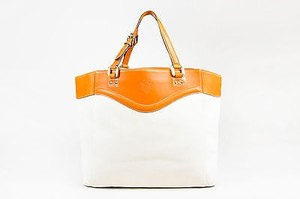 Gucci Off White Canvas Tan Leather Trim Ghw Double Strap Tote in Ivory