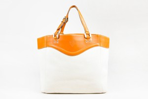 Gucci Off White Canvas Tan Tote in Ivory