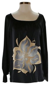 Parker Silk Embellished Graphic Top Black