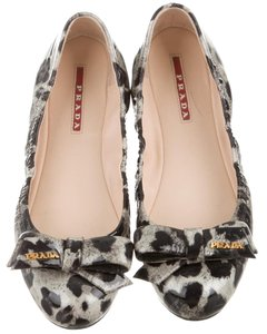 Prada Round Toe Patent Leather Black, Grey Flats