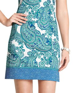 Ann Taylor short dress Teal/Blue/White Shift Paisley on Tradesy