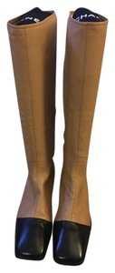 Chanel Tall Knee High Tan/Black Boots