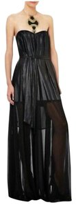 BCBGMAXAZRIA Strapless Sateen Sheer Dress