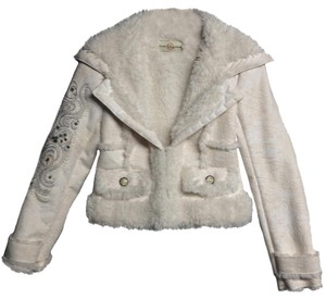 Wilsons Leather White Leather White Fur Coat White Fur Womens Small White Cream Leather Jacket
