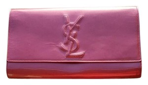 Saint Laurent Patent Leather Pearl Large pink Clutch