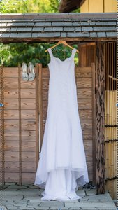 David's Bridal Tulle Tank Slim With Lace Appliq Style #10030440 Wedding Dress