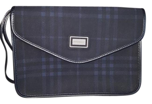 Item - Toiletry Bag Check Clutch/Toiletry Blue Polyester with Leather Trim Clutch