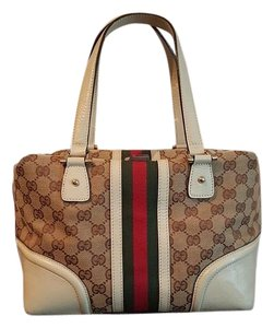 Gucci Supreme Signature Leather Canvas Bold Stripe Satchel in Ivory and tan
