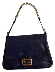 Fendi Navy Patent Leather Chain Gold Hardware Classic Shoulder Bag