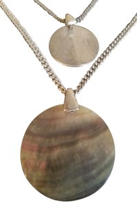Kenneth Cole Small Silver Tone & Large Abalone Disk