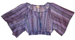 Hollister Striped Sheer Hippie Bohemian Top Purple, Blue, Pink